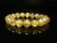 魔法のパワーストーン タイチンルチルブレスレット 10ミリ数珠 金針水晶