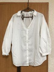 新品 GU パフスリーブシャツ(七分袖)  L