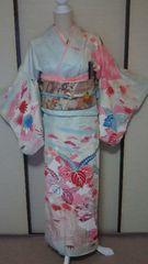 手描訪問着 花菱地紋(袷)丈161裄63桐文様 金駒刺繍