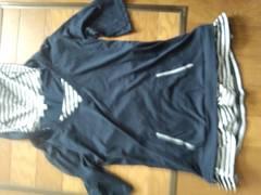 紺色×白ボーダーフード付き授乳対応マタニティ服 Mサイズ