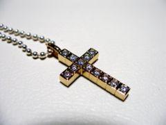 仁尾彫金『ゴールドフルダイヤクロス』十字架ハンドメイド53b