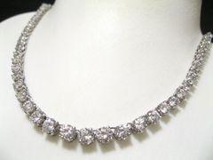 見た目価格は数百万の20キャラ仕様スーパーCZダイヤ銀925本格テニスネックレス