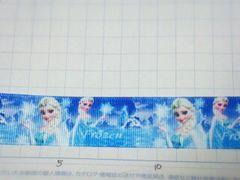 sale【雪結晶】25mm巾 アナと雪の女王 プリントリボン1M