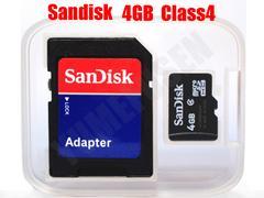 普通郵便無料 SANDISK 4GB microSDHC SDアダプタ付 CLASS4 バルク
