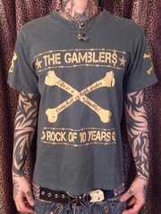 即決TheGAMBLERSギャンブラーズスカルボーンTシャツ!パンクロックンロールロカビリー