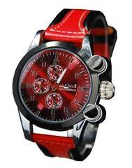 【送料無料】ユニセックス3Dレザー(本革)clubface腕時計RD