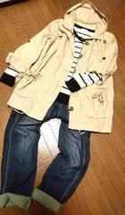大きいサイズ☆シャーリング紐付サラっとしたコットン地薄手ミリタリージャケット*3L