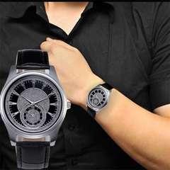 腕時計 ドクロ風 レザー 革 ベルトステンレス ウォッチ 黒色
