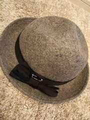 earth★ウール100 グレー帽子レディースフリー リボン付きハット