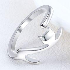 限定 新品1円〜★送料無料★ シルバー ネコ猫シルエット シルバリング指輪