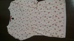 即決☆Mサイズピンクの小花柄7分丈ニットチュニック