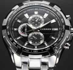 スポーツ クォーツ腕時計ブラックホワイト