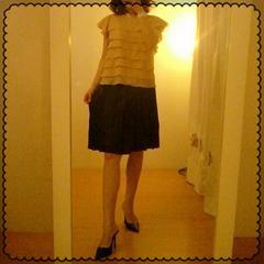 INDIVI☆アセテート つるっとタックプリーツ加工 紺清楚スカート 38