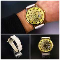 腕時計 ギリシャ文字  機械型 金フレームレザー 革ベルト 白