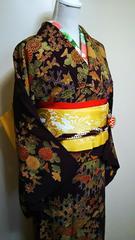 訪問着(袷)濃ムラサキ正絹縮緬 丈154裄69レタ・プラ可