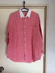 赤ブロックチェック柄長袖シャツ!Mサイズ!