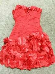 赤ゴージャス立体フラワーお花ビーズベアワンピドレスパーティー