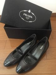 美品☆PRADAプラダパンプス DNC634レザーエナメルブラック靴  36