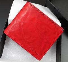 新品/箱付 ポールスミス クラッシュレザー 二つ折り財布 赤