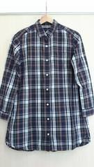 美品*Lugnoncure/ルノンキュール*マドラスチェック長袖チュニック丈シャツ Mサイズ