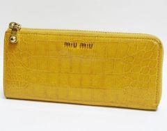 正規品miumiuミュウミュウ L字ファスナー長財布 型押し 黄色