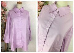 GF121★3L 大きいサイズ 美シルエットベーシックシャツ七分袖
