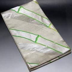 【袋帯】正絹 シルバー地 大きな竹の織り柄入り
