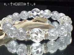 天然石★Sラインツイスト螺旋彫水晶*銀色爆裂水晶数珠