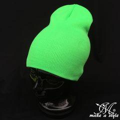 蛍光グリーンGREEN緑 プレーン ニットキャップ305ワッチキャップ
