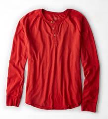 【American Eagle】Vintage AEOヘンリーネックTシャツ M/シエラレッド