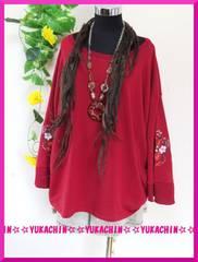 秋新作◆大きいサイズ4Lレッド◆腕花柄刺繍◆チュニック