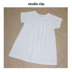 スタジオクリップ*studio clip★ギャザー半袖チュニックカットソー/used