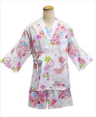 女性レディース用甚平じんべいオフホワイト地桜四季古典花フリー