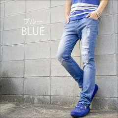 クラッシュ加工ストレッチデニムパンツ新品ブルーS