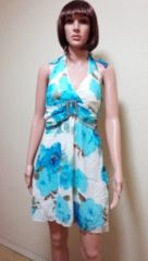 新品キャバ…胸元ビジュアクセ青薔薇しふぉんドレス☆3点で即落