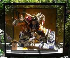 端午飾/廣榮作;武者人形大型ケース入り中古美品