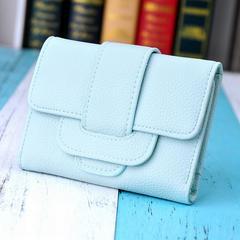 1円新品☆ふわふわ手触り三つ折りレディース財布ブルー水色レディース