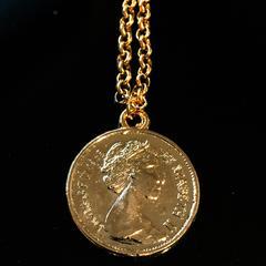 ◆クイーン エリザベス コイン ゴールド ネックレス 新品