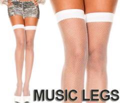 A183)MUSICLEGSサイハイストッキング白ホワイトニーハイ網タイツダンス衣装ダンサー発表会