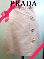 正規品☆プラダ シルク100% サーモンピンク 台形スカート M 美品★dot