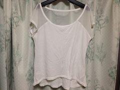 アバクロ白色ホワイトメッシュカットソートップス半袖
