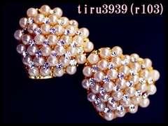 r103/18KRGPゴールド/小粒パールハートスタッドピアス/送料120円