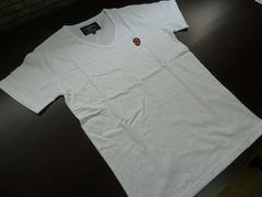 送料込h(L 白 ロゴ刺繍)ローリングストーンズ Tシャツ 半袖 Vネック 綿100%