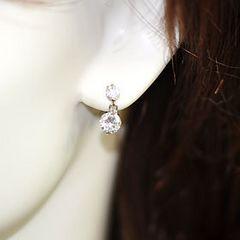 【新品即落】揺れるダイヤモンドcz1粒イヤリング♪