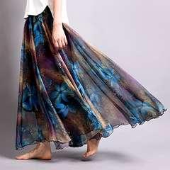 裾広幅★ヘムライン★花柄シフォン★ロングスカート(濃ブルー)