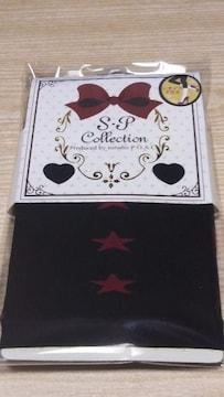 新品 7分丈レギンス(M〜L)黒×ローズ星柄