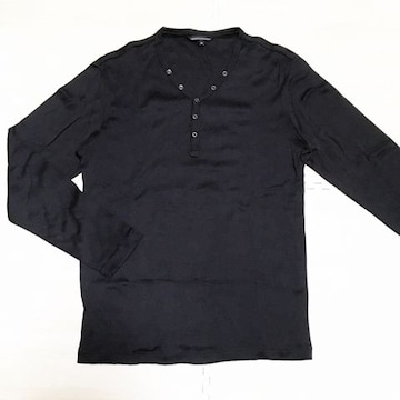 【used】V首 長袖カジュアルTシャツ/メンズM/黒/ユニクロ