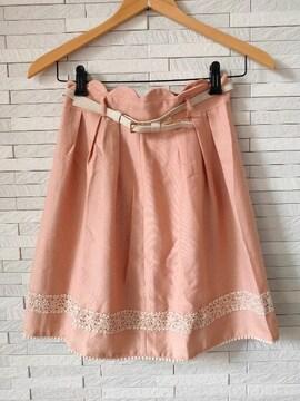即決/PATTERN/ベルト付き/裾レースタックフレアスカート/ピンクS