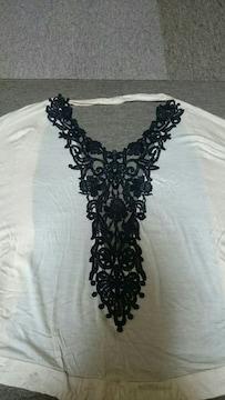 背中クロシェ刺繍ドルマンカーデM超美品薄いオフホワイト
