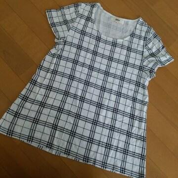 オゾック OZOC Tシャツ カットソー チェック シンプル Aライン